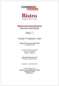 menu del new Zealand gourmet dinner